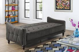 Black Sleeper Sofa Tufted Sleeper Sofa With Black Fabric Cover And Wooden Legs