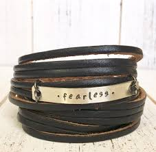 bracelet leather wrap images Fearless black leather wrap bracelet double wrap adjustable jpg