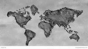 World Map Black And White World Map Sketching Looping Animation Black And Wh Stock Animation