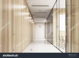 glass walls empty office corridor wooden glass walls stock illustration