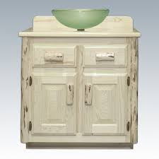 retro style bathroom vanity with white ceramic vessel sink and