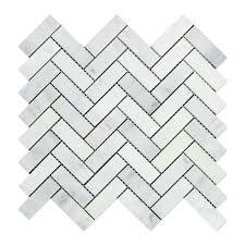 Marble Mosaic Tile Oriental White Asian Statuary Marble Polished 1 X 3 Herringbone