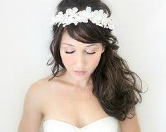 white flower headband flower crown ivory wedding flower headband hair flower deloop by