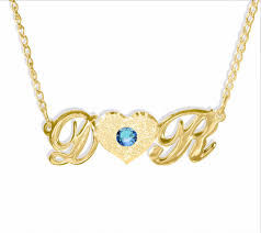 customized name necklace gold personalized 24k gold plated 2 initials heart necklace with