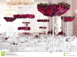 beautiful flowers on wedding table decoration arrangement stock