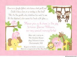 jungle safari shower invitation baby monkey elephant