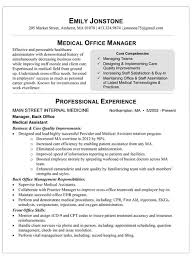 Resume Examples Office Manager by Medical Office Resume Sample Free Resumes Tips