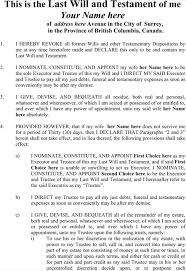 download british columbia last will and testament form for free