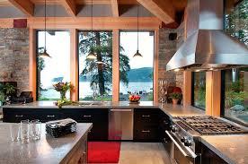 L Shaped Kitchen Rug Kitchen Sea View Kitchen Wood Framed Window Stainless Steel Hood