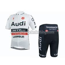 audi cycling team 2015 team audi pro apparel cycle jersey and shorts white