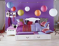 Bedroom Design For Girls Pink Hello Kitty Purple Wall Paint In Teenage Girls Bedroom With Colorful Pendant