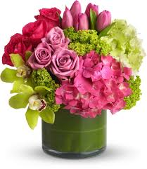 inexpensive flower delivery hydrangea and tulip bouquet the idea of lining a vase