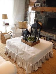 diy drop cloth ottoman slipcover the cottage at oak point