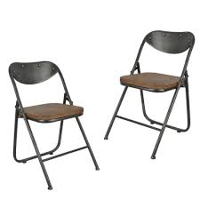 Folding Dining Chairs Wood Decor Therapy Vintage Charcoal And Oak Metal And Wood Folding