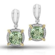 green amethyst earrings charles krypell sterling silver 14k yellow gold green amethyst