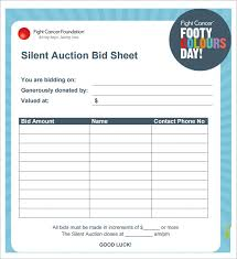 Bid Sheets For Silent Auction Template Silent Auction Bid Sheet Template 29 Free Word Excel Pdf