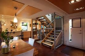 simple wooden stairs for elegant family room addition plans