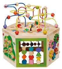 wooden bead toy table amazon com everearth 7 em 1 garden atividade cube ee33285