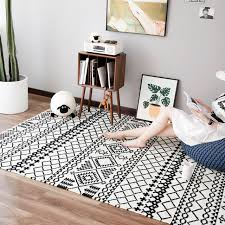 Modern Black And White Rugs Collalily Kilim Handmade Carpet Geometric Bohemia Indian Rug Plaid