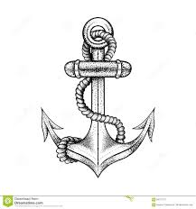 hand drawn illustration of an anchor and stock vector