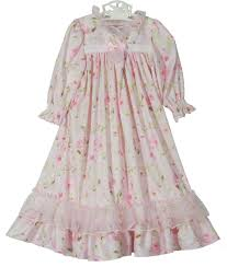 pink flowered nightgown with pink ribbon pink flowered