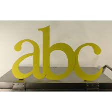 large metal typographic abc diecut letters sign