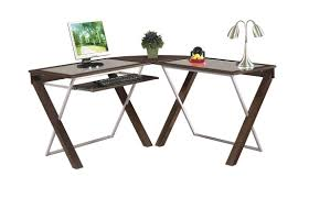 lake point collection l desk brown wooden l shape desk with white brown legs and keyboard shelf