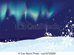 clip art vector of northern lights on christmas night lonely hut