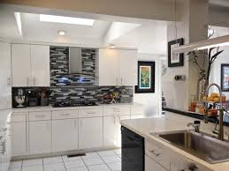 Gloss White Kitchen Cabinets White Cabinets Gray Countertops Green Carving Stained Wooden Frame