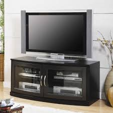 entertainment centers with glass doors black finish modern tv stand w two glass doors