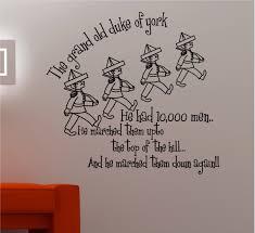 Nursery Rhyme Wall Decals Grand Duke Of York Nursery Rhyme Wall Quote Sticker Vinyl