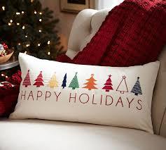 Lumbar Decorative Pillows Happy Holidays Embroidered Lumbar Pillow Cover Christmas