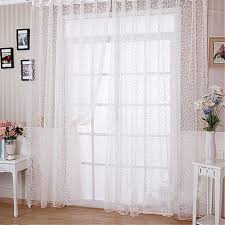 Scarf Curtains Home Floral Tulle Curtain Window Door Balcony Lifting Sheer