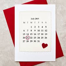 calendar personalised date anniversary card by arnott cards