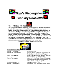 tiger u0027s kindergarten february newsletter free download