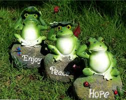 3pcs frog sitting resin crafts miniature garden decoration