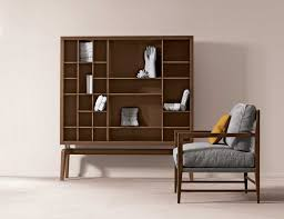 fascinating walnut high end bookshelves design on living room with