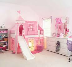 Kids Bed Canopy Tent furniture pink girls princess tent loft bed with stair and slide