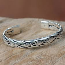 silver cuff bracelet with images Braided sterling silver cuff bracelet from bali singaraja weave jpg