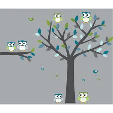 owl tree wall decals will transform your kids room easily blue and gray owl decal with tree wall art for boys rooms