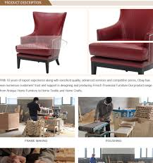 Restaurant Armchairs French Leather Chairs With Red Color Antique Wooden Restaurant