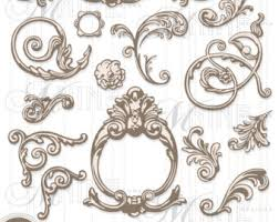 ornamental clipart baroque pencil and in color ornamental