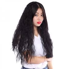 shaggy permed hair women heat resistant long slight curly shaggy perm half hair wigs