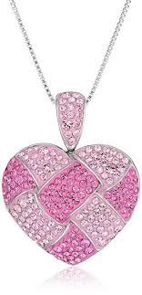 silver pink necklace images Sterling silver and pink quilted heart pendant jpg