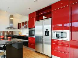 Red Kitchen With White Cabinets Kitchen White Cabinets Black Appliances Grey Stool Grey And