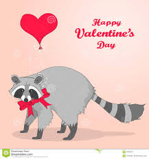 cute valentines day card with cartoon character racoon stock