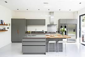 white floors grey cabinets wod island stainless steel kitchen jpg