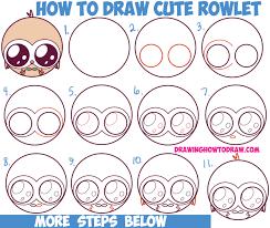 how to draw cute kawaii chibi rowlet from pokemon sun and moon
