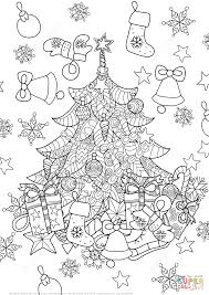 christmas tree zentangle coloring page free printable coloring pages