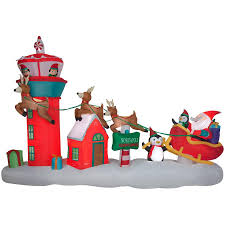 Lighted Santa Sleigh Reindeer Set by Shop Holiday Living 8 66 Ft X 13 48 Ft Lighted Santa Christmas